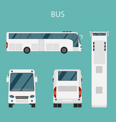 Color flat set bus transport vector