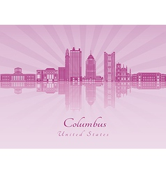 Columbus skyline in purple radiant orchid vector image