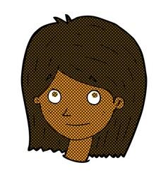 comic cartoon happy female face vector image