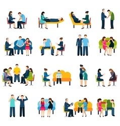 Counseling Support Group Flat Icons Set vector
