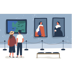 Couple visiting art gallery museum flat vector