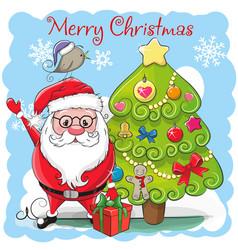 cute cartoon santa claus and a fir vector image