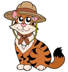 Cute cat in scout hat vector