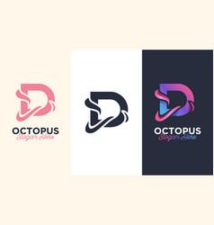 Design logo d letter initial for octopus vector