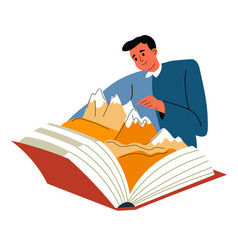 Discovering world while reading books publication vector