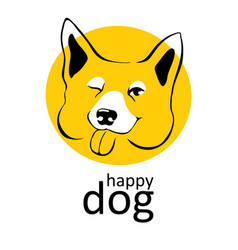 dog logo happy smiling winks playful emotions dog vector image