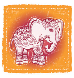 ethnic elephant on tribal indian background vector image