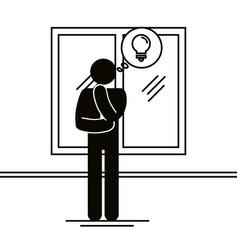 figure businessman with bulb idea avatar vector image