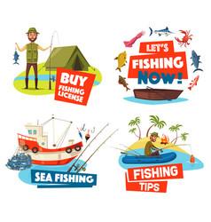 fishing boat net and fisherman ship fish rod vector image