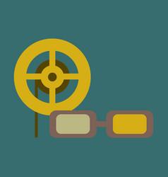 Flat icon 3d cinema vector