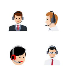 flat icon call set of telemarketing operator vector image