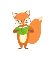 Fox smiling bookworm zoo character wearing glasses vector