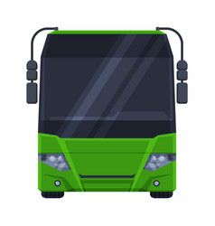 Front view green bus public transportation vector