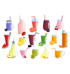 fruit smoothie colorful icons set vector image