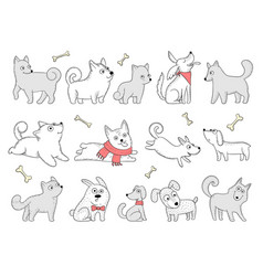 Funny dogs domestic puppy characters in action vector