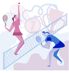 girls play a lot of tennis championship in tennis vector image