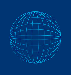 Globe wireframe in flat style vector