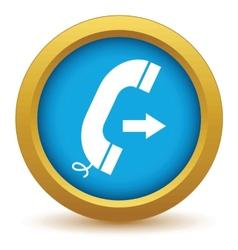 Gold outgoing call icon vector