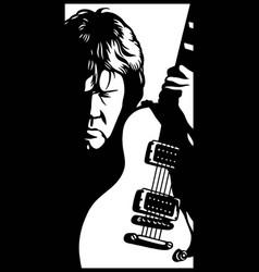 Guitarist stencil on white background vector