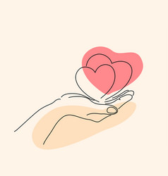 hand holding heart sign line art drawing style vector image