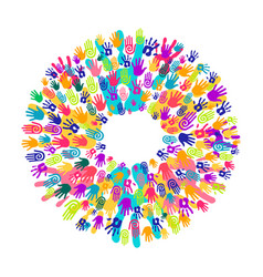 Hand print circle concept for teamwork help vector