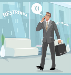 Happy businessman in restroom at work vector