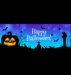 happy halloween cemetery with zombie hand banner vector image