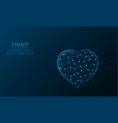 heart symbol made by points and lines polygonal vector image