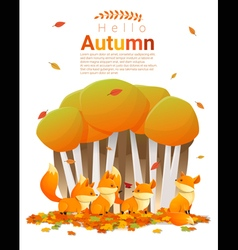 Hello autumn background with foxes 2 vector image