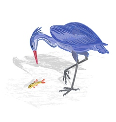 Heron hunting fish vector