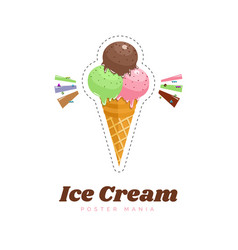 ice cream color poster menu vector image