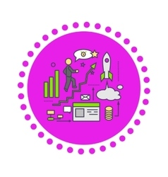 Icon Flat Style Design Successful Startup vector image