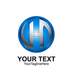 initial letter h logo template colored blue grey vector image