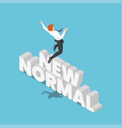 isometric businessman jumping over new normal vector image