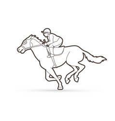 Jockey on horse horse racing cartoon graphic vector