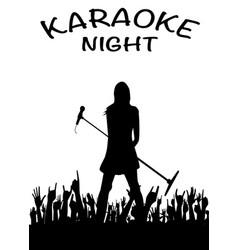 Karaoke night girl with microphone vector