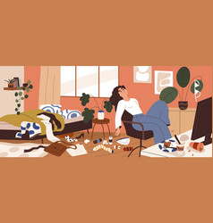 Lazy woman with mess around at home depressed vector