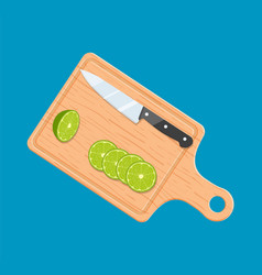 lime slices on kitchen cutting board vector image