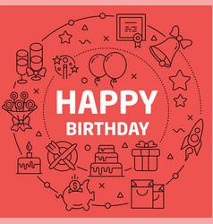 linear happy birthday vector image