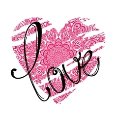 Love lettering and pink heart vector
