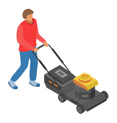 man use motor lawnmower icon isometric style vector image