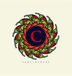 mandala chilli papper logo food elegant vector image