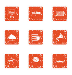 Mentality icons set grunge style vector