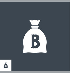 money bag with bitcoin vector image