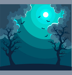 Mysterious night landscape with moon in dark sky vector
