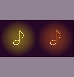 Neon icon of yellow and orange musical note vector
