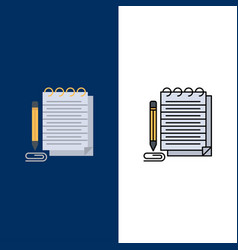 Notepad notebook pad novel icons flat and line vector