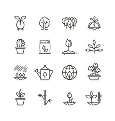 Plant planting and seed line icons sprout vector