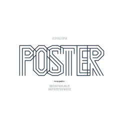 poster font line style modern typography vector image