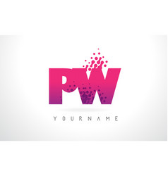 Pw p w letter logo with pink purple color and vector